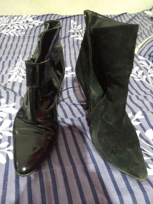 Zapatos Botinetas <strong>mujer</strong> Cuero Y Gamuza