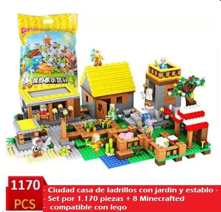 Bloques Ladrillos De Construccion Didactico Minecraft Casa Jardin Cabaña Granja 1170 Fichas Tipo Lego