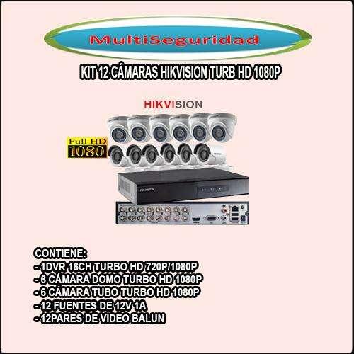 KIT HIKVISION TURBO HD 1080P 12 CÁMARAS DVR 16CH ACCESORIOS INCLUYE IVA