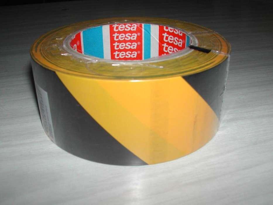 Cinta demarcatoria tesa amarilla negro cebrada 50 mm x 33m