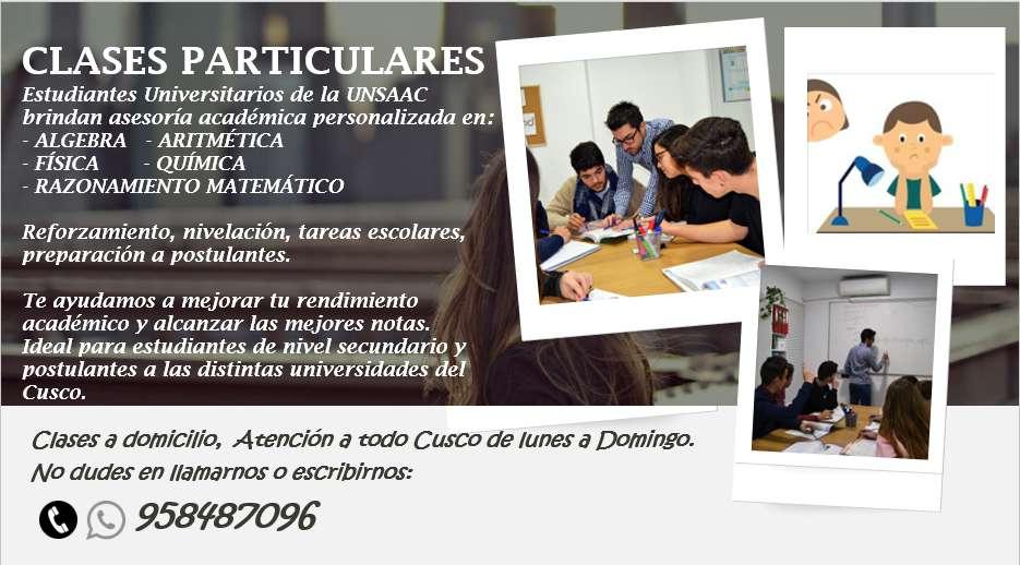 CLASES PARTICULARES DE MATEMÁTICAS PERSONALIZADAS O GRUPALES