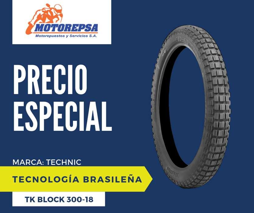 <strong>llanta</strong> TECHNIC TK BLOCK 30018 para Moto HONDA CG 125/150/160 Y YAMAHA YBR 125