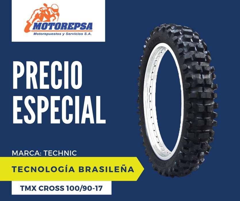 <strong>llanta</strong> TECHNIC TMX CROSS 100/90 17 para Moto HONDA NXR BROS 125/150, YAMAHA XTZ 150