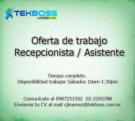 Oferta de trabajo: Recepcionista / asistente. Empresa de tecnología