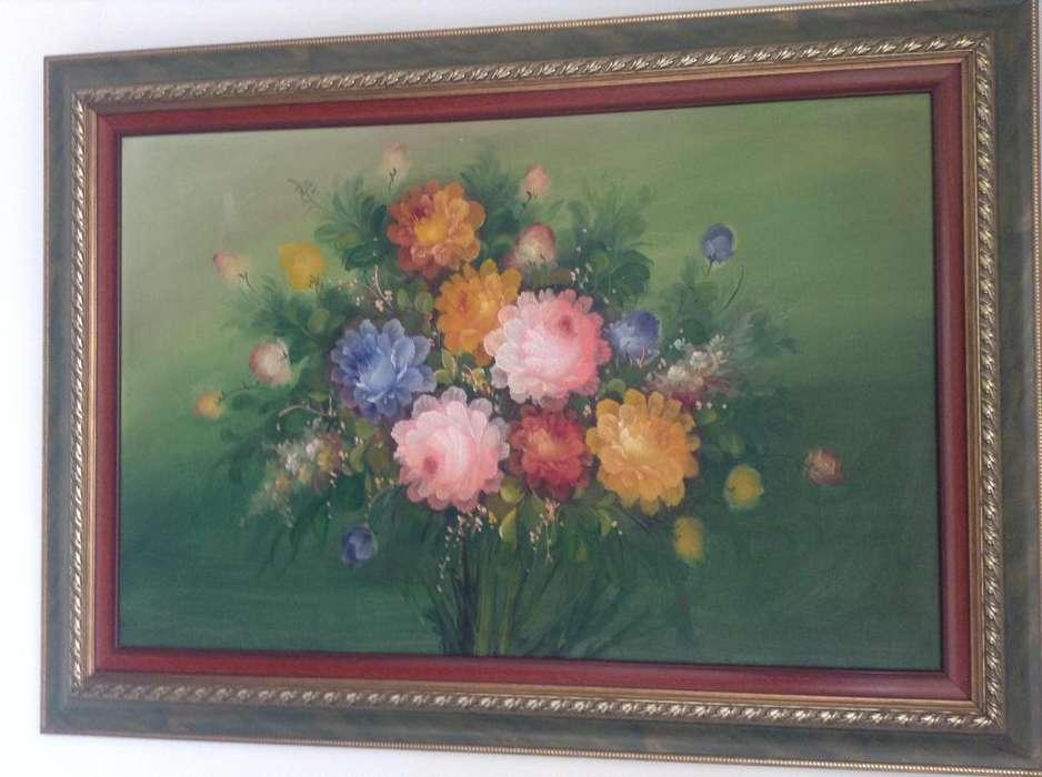 Cuadro de flores con marco