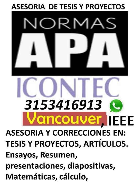 Asesorías / anteproyectos, tesis, Norma APA, Icontec, Vancouver