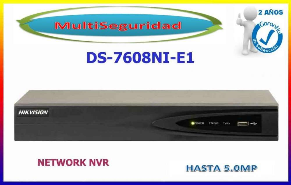 NVR 8CH HIKVISION DS 7608NI E1,FUENTE, HASTA 1080P METÁLICO