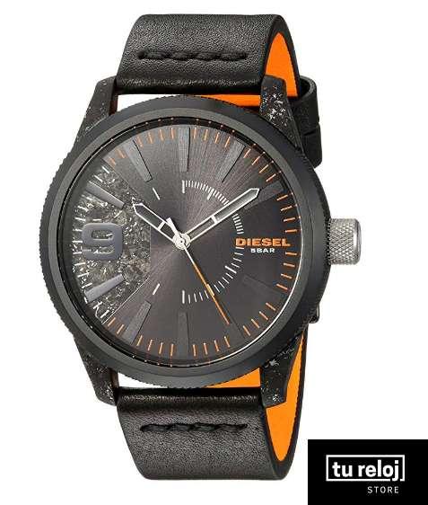 012a01569312 Reloj Diesel para Hombre DZ1845 Color Negro Con Apliques Naranja