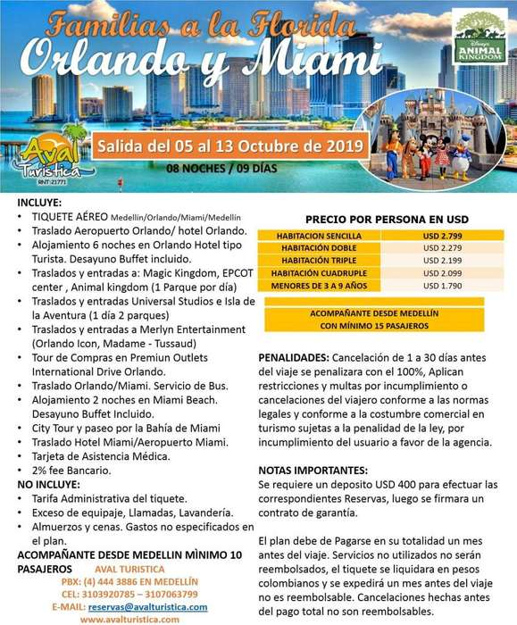 Excursión Familias a la Florida (Orlando y mañana) semana de receso escolar octubre 2019