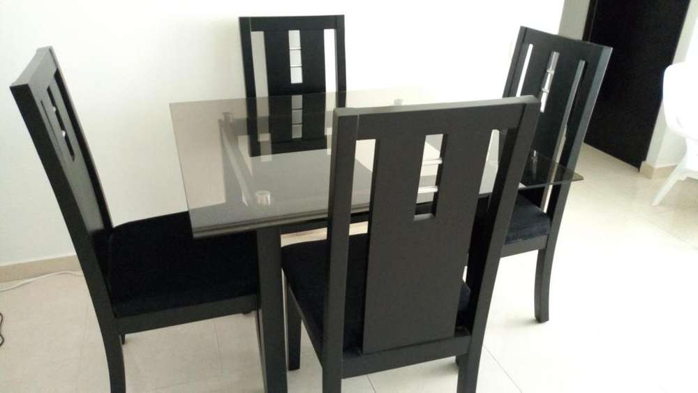 Juego de comedor color negro - 4 puestos - en Madera