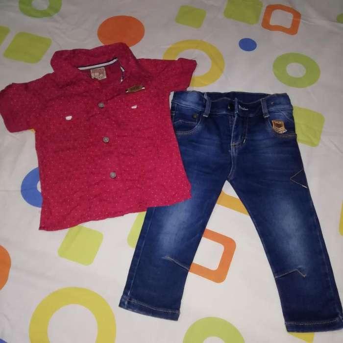 Jeans Y Camisa Talla 2 para Niño