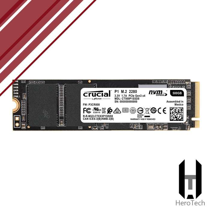 M.2 NVMe 500GB 1900 MB/s Crucial P1 2280 3D NAND SSD disco duro solido 480GB