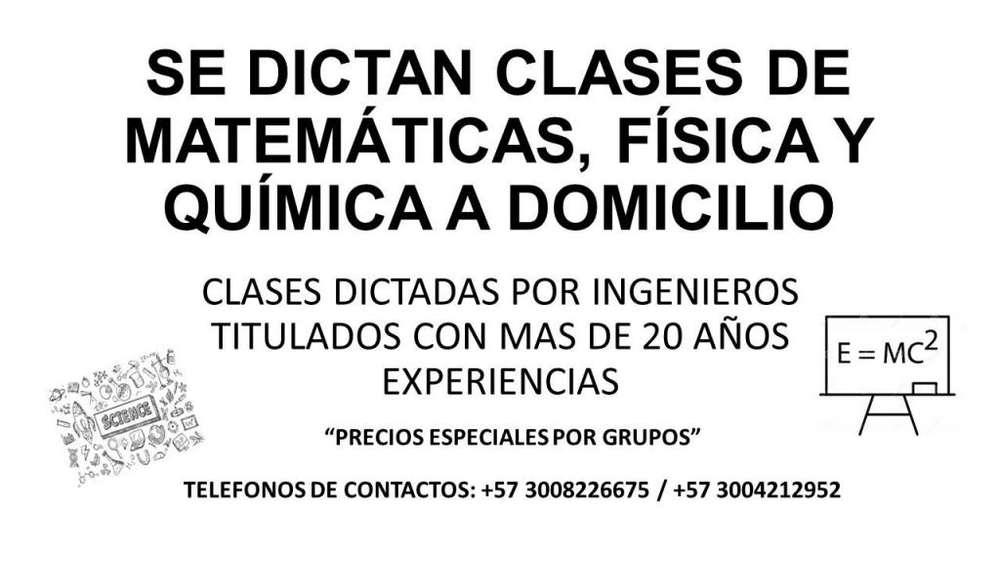 SE DICTAN CLASES DE MATEMÁTICAS, FÍSICA Y QUÍMICA