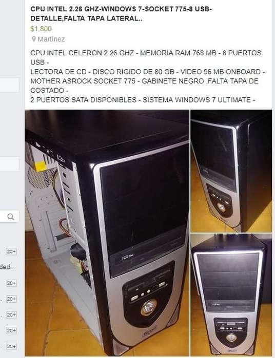 FUNCIONA BIEN CON WINDOWS 7,,SOCKET 775,,8 USB,,DISCO 80 GB,,