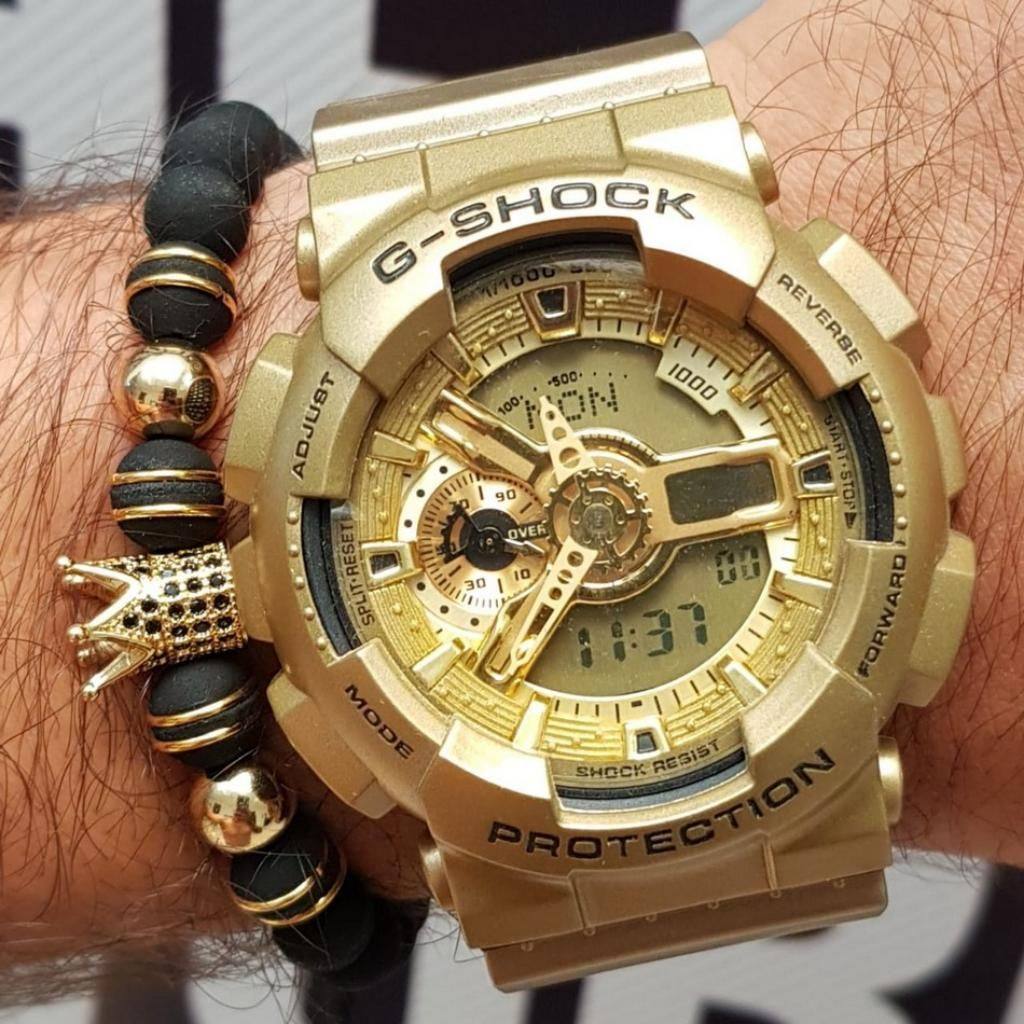 Hombre Reloj Dorado Para Casio Cali SULzVpqMG