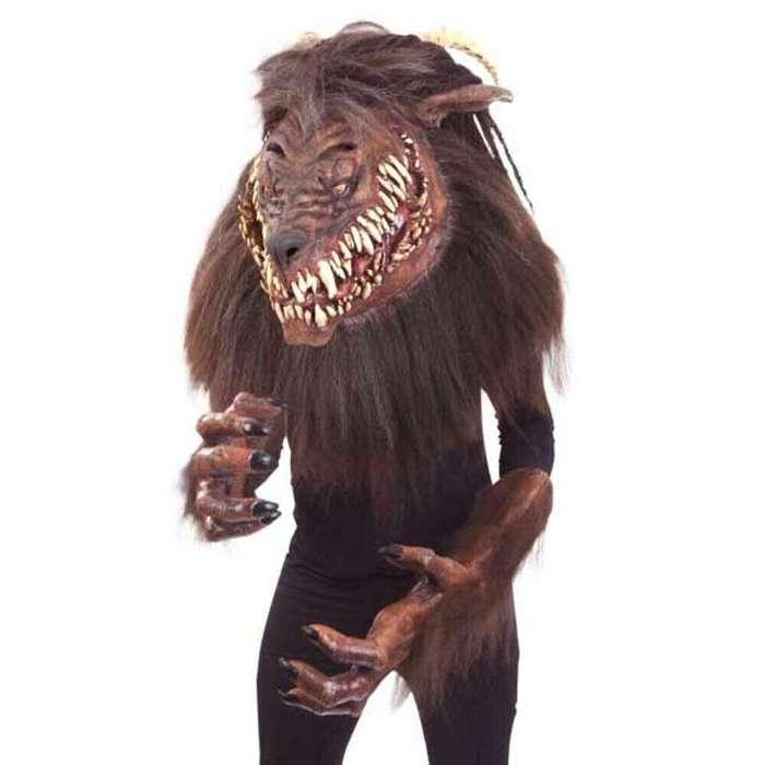 Disfraz Terror Snarling Hombre Lobo Gigante Mascara y guantes super terrorifico.