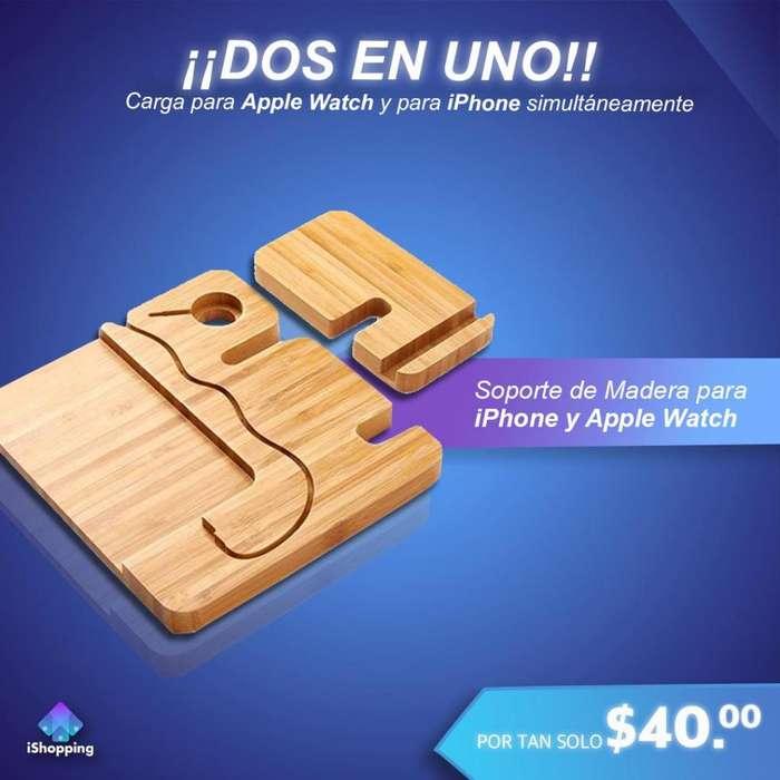 Soporte de madera Para iPhone y Apple Watch