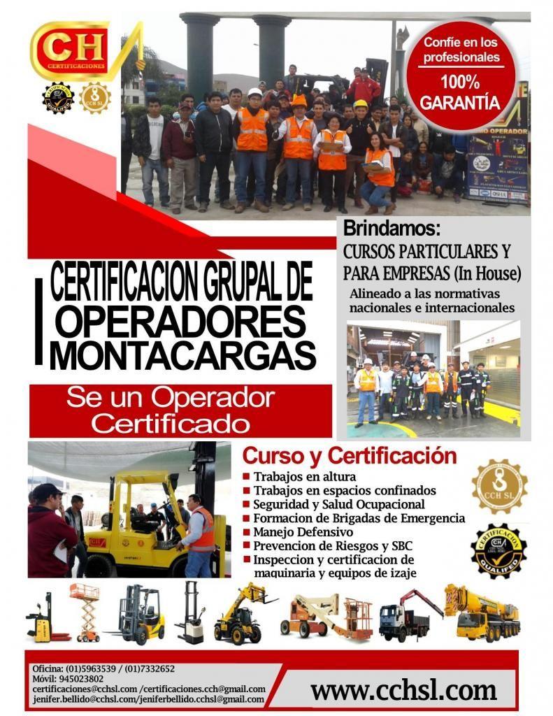 CURSOS GRUPALES DE OPERADORES DE MONTACARGAS APILADOR GRUAS RIGGER CAPACITACION CERTIFICACION HOMOLOGACION
