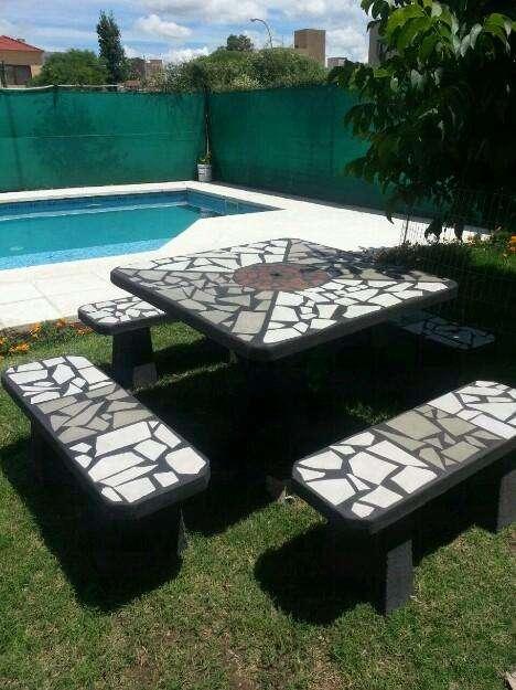 Juegos para jardin mesas bancos cemento