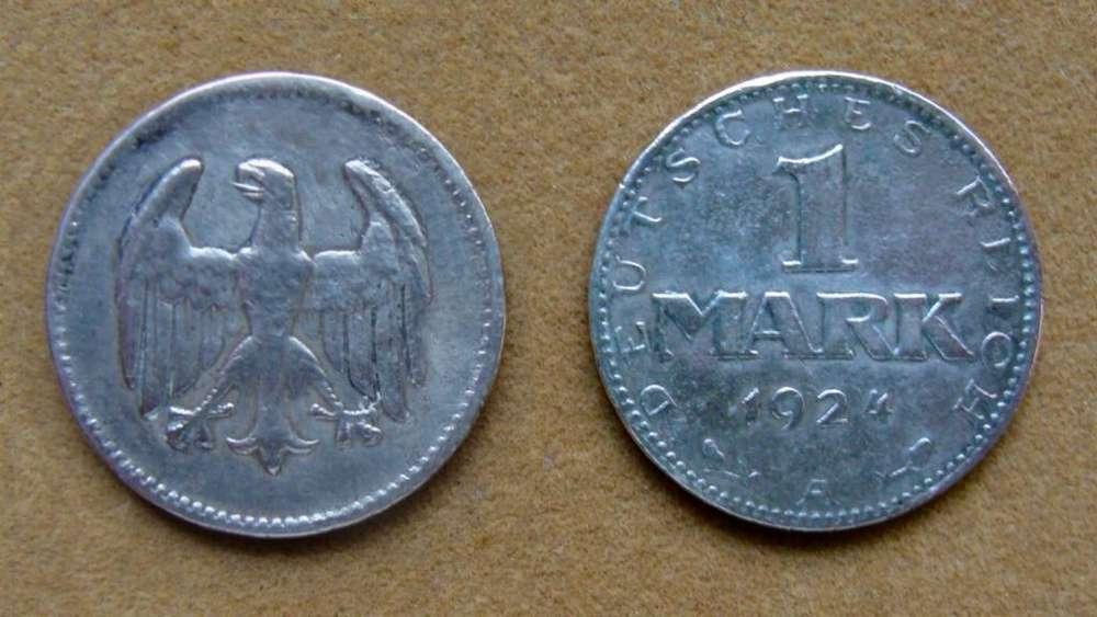 Moneda de 1 marco de plata Rep. de Weimar, Alemania 1924 A