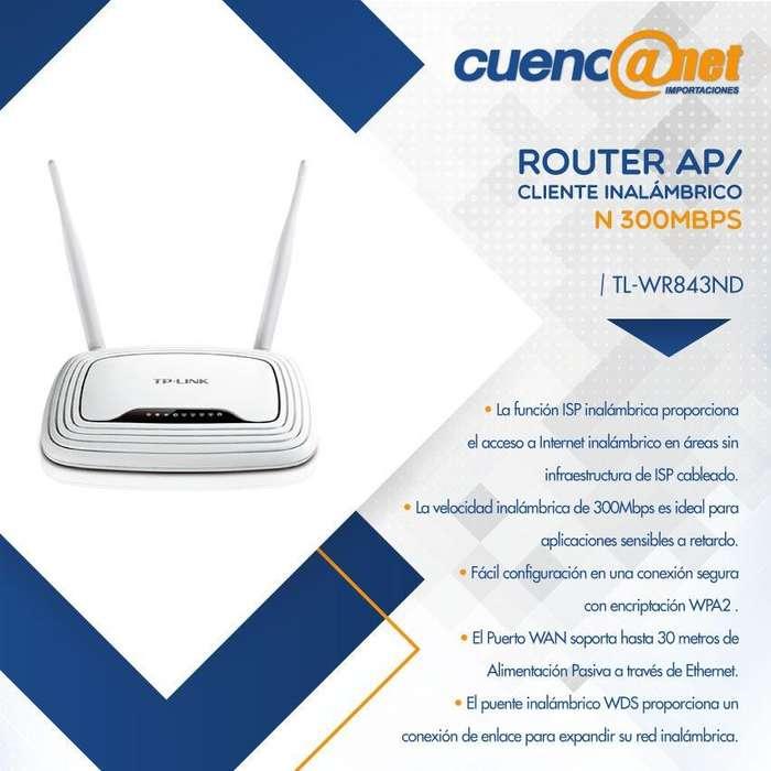 TPLINK WR843ND 300Mbps W. N AP/Client Router, Ath 2T2R, 2.4GHz, 802.11n 4port 2Det Ant