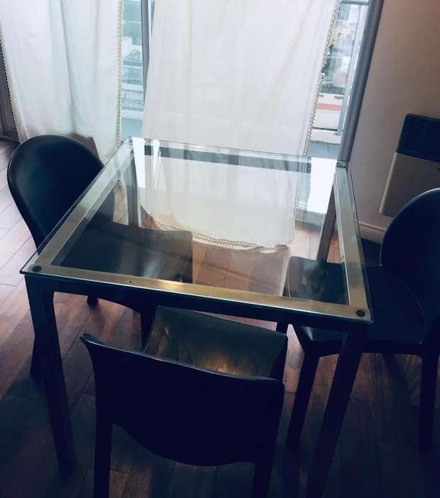 Mesa de Vidrio Cuadrada 3 <strong>silla</strong>s