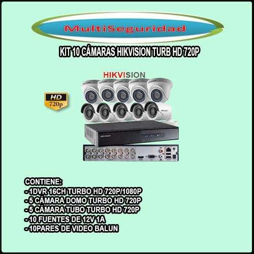 KIT HIKVISION TURBO HD 720P 10 CÁMARAS DVR 16CH ACCESORIOS INC IVA