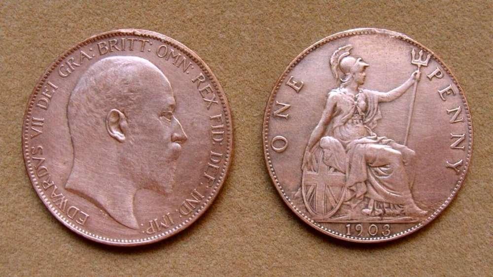 Moneda de 1 penique Gran Bretaña 1903