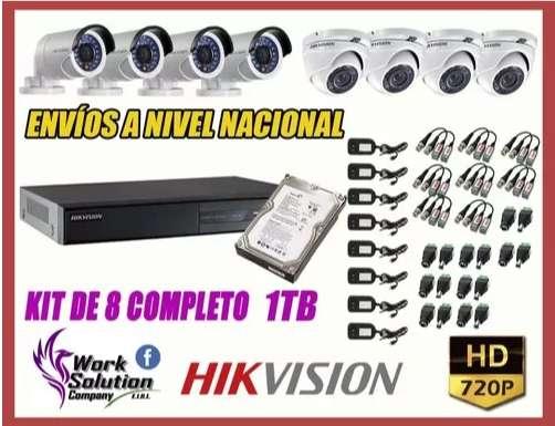 Kit 08 Camaras De Seguridad HD Hikvision Disco1tb.