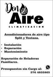 Instalación, Reparación y Mantenimiento Aire Acondicionado, Split, Heladeras, Exhibidoras, Cámaras Frigoríficas