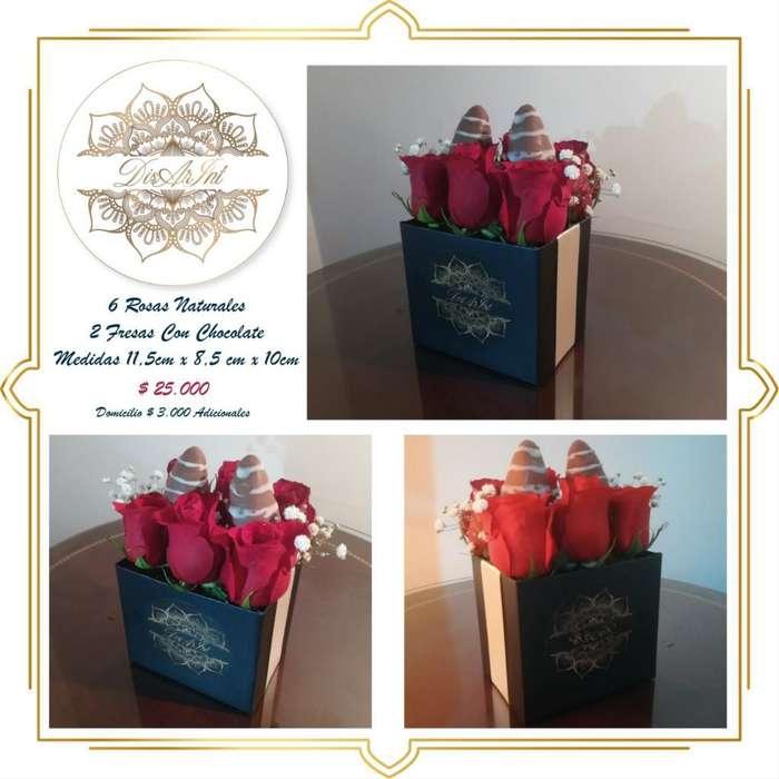 Caja de Rosas Y Fresas con Chocolate