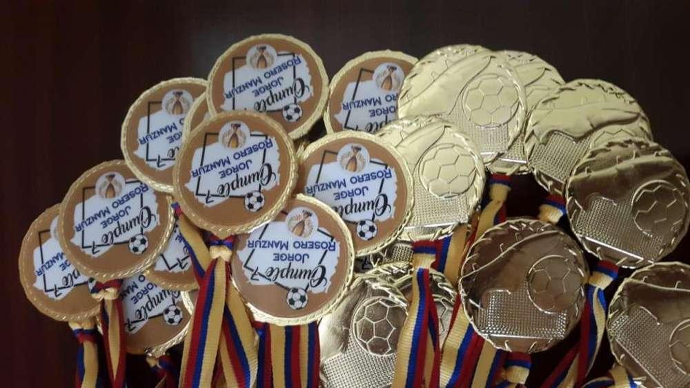 Medallas desportivas futbol y victoria