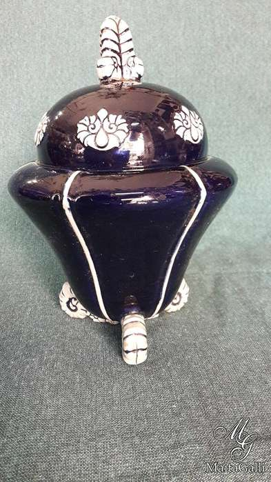 Hermoso Potich Terracota Esmaltada Sellado Azul Cobalto para Restaurar. *1259
