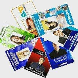Carnet empresarial, institucional, impreso a full color por ambas caras. Diseños personalizados.