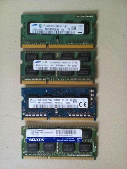 Vendo 4 Memorias de Portatil Ddr3 2gigas
