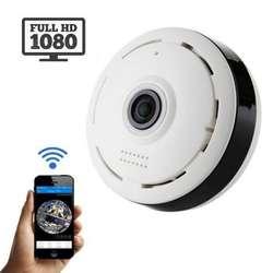 Camara Seguridad IP Panoramica Bombillo Tipo Sensor de Humo Vigilancia ojo de pez Espia Oculta WIFI FULLHD