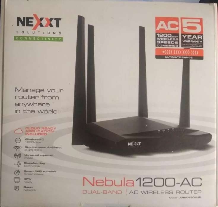 ROUTER REPETIDOR WIFI NEXXT NEBULA AC1200 DUAL BAND 2,4/5GHZ