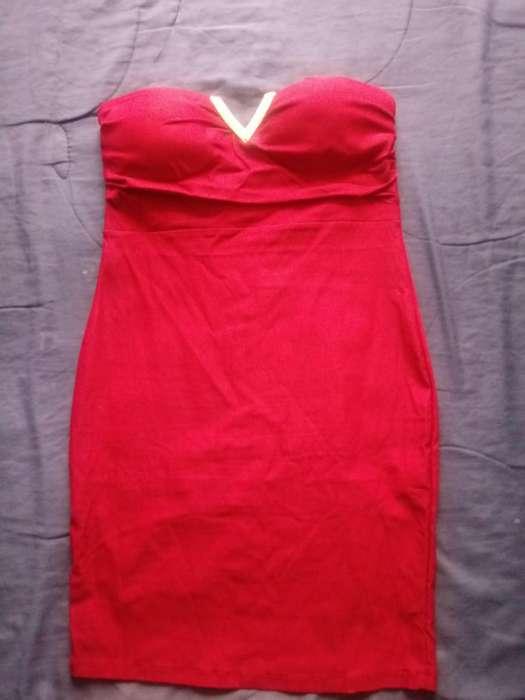 Vestido Strapless Talla M Color Vino