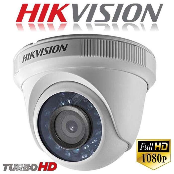 CAMARA DE VIGILANCIA TURBO HD DOMO HIKVISION DS2CE56D0TIRF 2MP 1080P 2.8mm IP66 DIA Y NOCHE