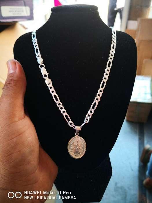 Cadena Nueva Y Medalla de Plata Italiana