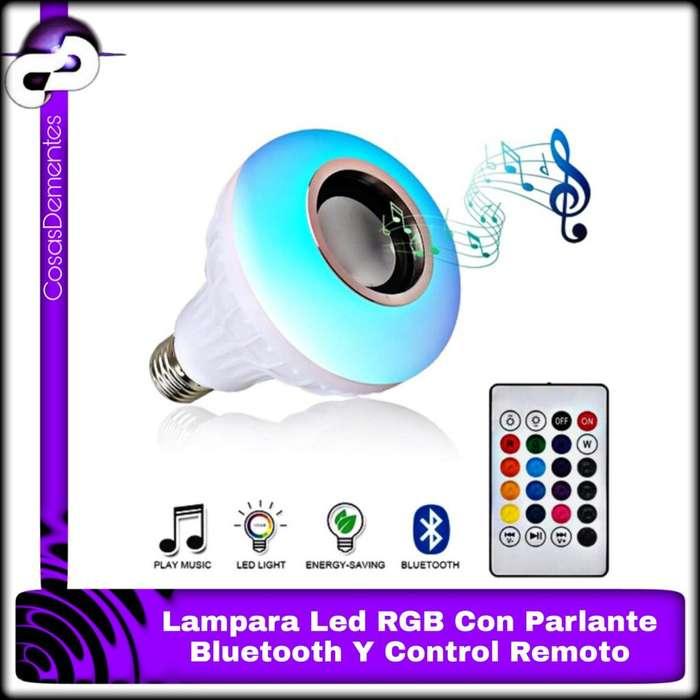 LÁMPARA LED RGB COLORES CON PARLANTE BLUETOOTH CONTROL REMOTO