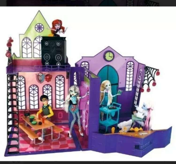 Escuela de Las Monster High Original promoción con el carro y la cafetería