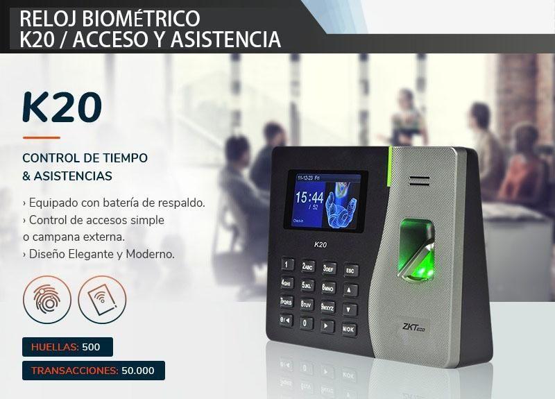 Reloj Biometrico acceso y asistencia k20 /zkteco/ control de acceso y asistencia con respaldo de bateria Quito-Guayaquil