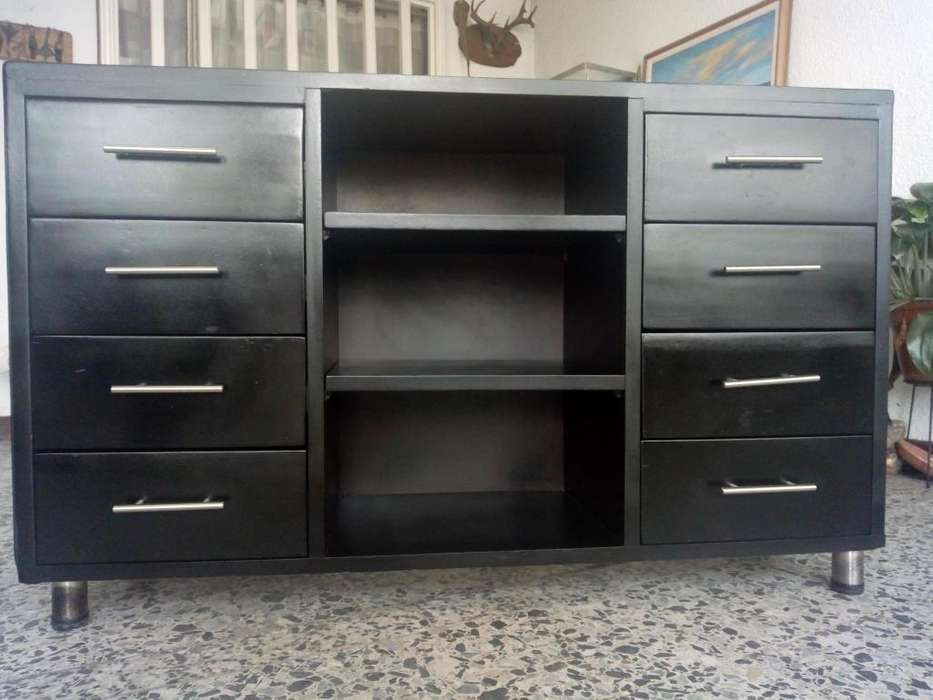 Mueble madera, almacen, bifet, sala, habitacion, oficina, multiusos, TV, Equipo de sonido. 8 cajones. Como nuevo!!