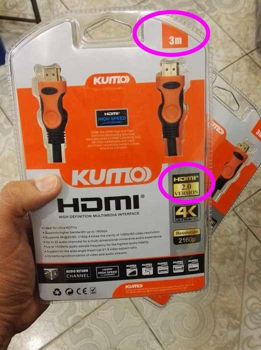 Cable HDMI Version 2.0 de 3 Metros, Punta dorada