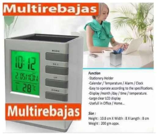 Reloj Digital Multifuncional Para Oficinas, Porta Esferos