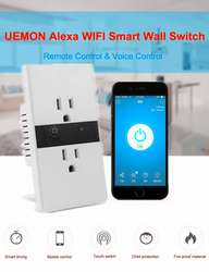 UEMON Smart home alexa electrical wifi wall outlet switch double 3 pin. Domotica
