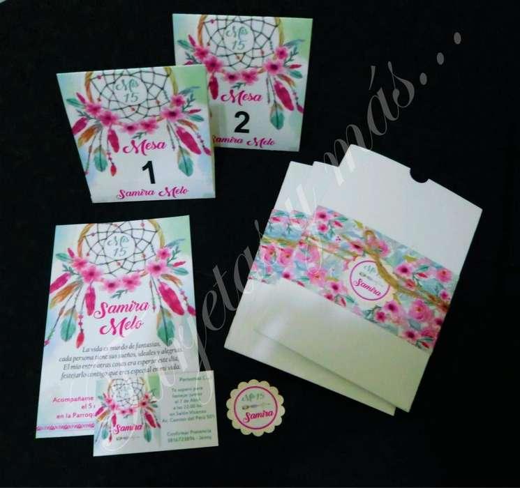 15 AÑOS 18 AÑOS BODAS Tarjetas / invitaciones en papel texturado 40 c/u