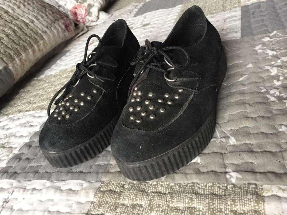 Zapatos Negros Acordonados Num 37