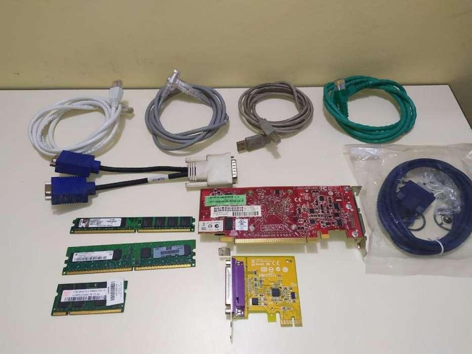 Artículos varios para pc, memorias y cables